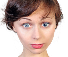 Surprised young caucasian woman