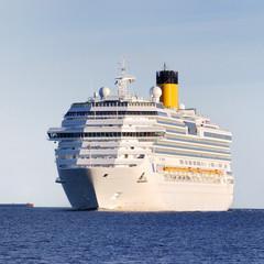 white cruise liner entering the port of Riga