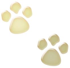 3d white paw prints illustration