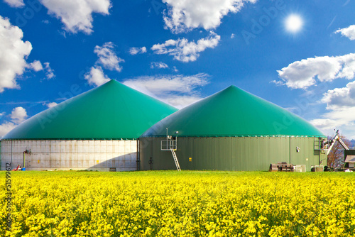 Leinwanddruck Bild Biogasanlage im Rapsfeld