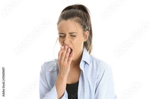 Model Released. Woman Yawning