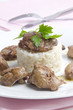 chicken liver on rice with parsley