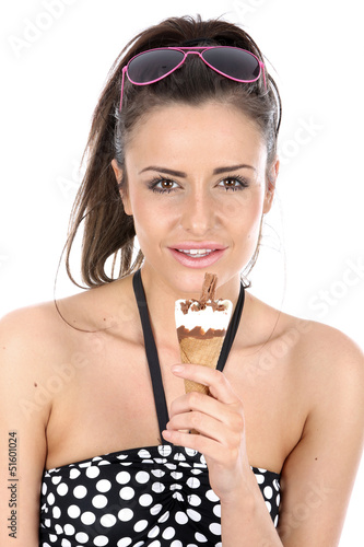 Model Released. Woman Eating Ice Cream Cornet Poster