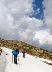 Hiking in spring mountains