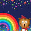 Cat in the night sky with rainbow