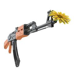 Blume in einem Gewehr als Symbol für Pazifismus