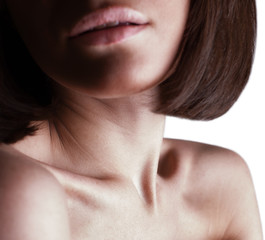 beautiful girl lips, neck and shoulders