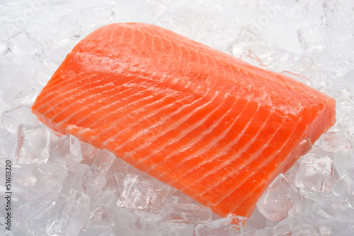 Fresh salmon on ice