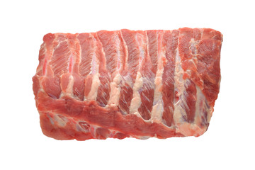 Raw pork ribs on white background