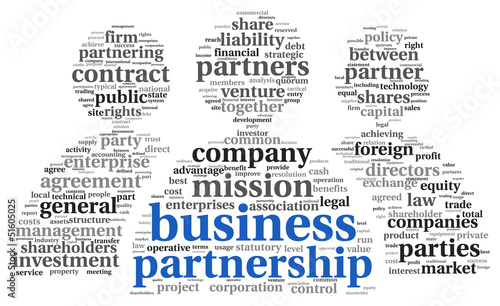 Business partnership  concept in tag cloud