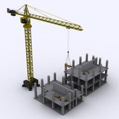 Baustelle mit Kran