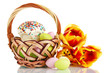 Easter cake with eggs in wicker basket isolated on white