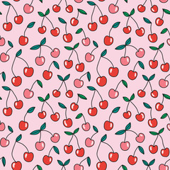 Bright cherry seamless pattern. Abstract fruit