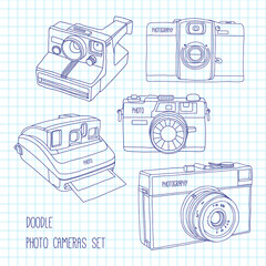 Set of retro photo cameras doodle