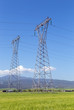 High voltage electricity pylons in rural landscape