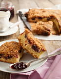 Blackcurrant and hazelnut crumble cake