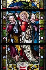 Glasfenster Bibel - Jesus mit den Emmaus Jüngern