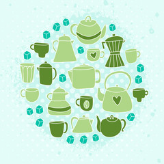 Different tea and coffee cups, pots background