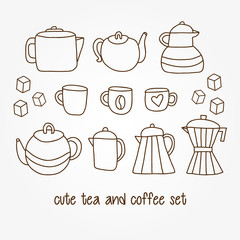Set of cute hand drawn tea and coffee pots6 mugs