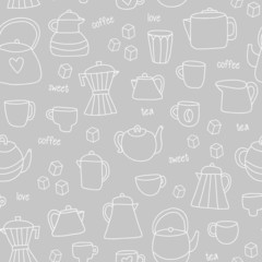 Outline tea and coffee pattern. Vector illustration