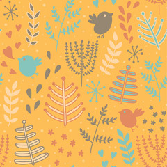 Cute seamless pattern with birds and flowers.