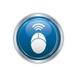 Computer mouse icon on the blue with silver rectangular button