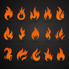 Vector Illustration of Abstract Fire Icons