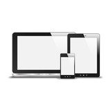 Realistic Notebook, Smart Phone And Tablet PC With Blank Screen.