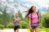 People hiking - happy hikers in Yosemite mountains