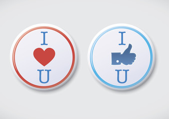 I Love You, I Like You - Vector Button Badge
