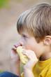 junge isst maiskolben