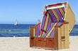 canvas print picture - Strandkorb an der Ostsee bei Kiel
