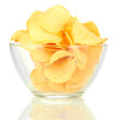 Potato chips in glass bowl, isolated on white