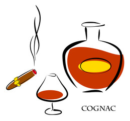 Glass and bottle of luxury cognac with best tobacco cigar