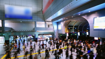 Commuters at Shinagawa Station in Tokyo, Japan