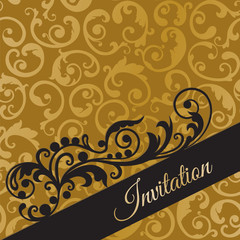 Luxury black and gold invitation card with swirls
