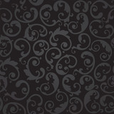 Seamless black and grey swirls floral wallpaper pattern