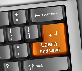 "Keyboard Illustration ""Learn And Lead"""