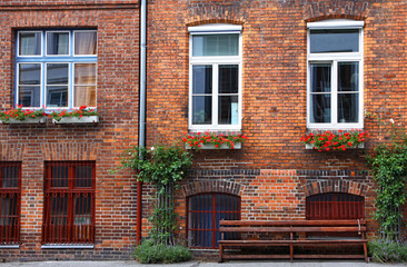 Facade of typical German residential house in Lubeck