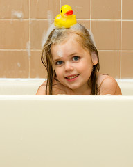 Rubber ducky on her head