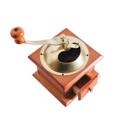 Authentic red wood and metal coffee mill isolated