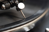 gramophone needle in vinyl records. A very extreme macro.