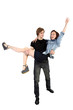 Handsome man holding joyful woman