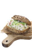 Sandwich with  cottage cheese,cucumber and  radish