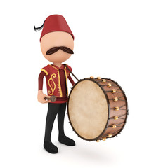 3d ramadan drummer with drum