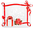 Holiday background with pink roses and gift box. Vector illustra