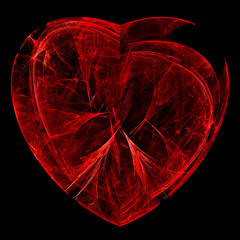 Fractal flame background. Broken organic red heart.