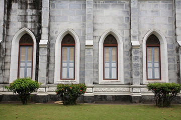 Windows and wall of Catholic church