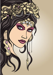 Girls face stylized in art nouveau