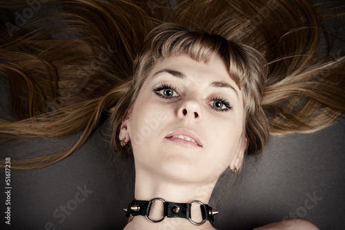 portrait of a beautiful woman with a collar